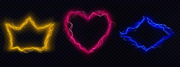 Molduras de raios, bordas de raio elétrico definidas