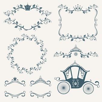 Molduras de royalties vintage com conjunto de coroa, diademas e carruagens