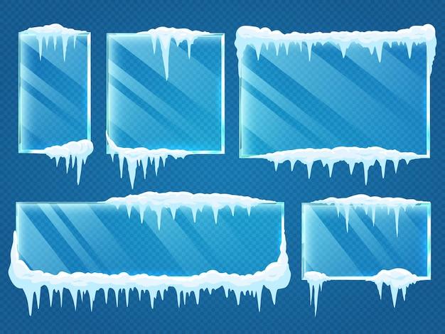 Molduras de vidro com tampas de neve