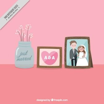 Molduras decorativas com foto de casamento