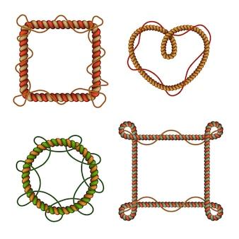 Molduras decorativas de corda colorida ajustadas em forma circular e quadrada com nós de laços de cabo