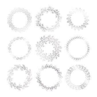 Molduras decorativas de inverno prata.
