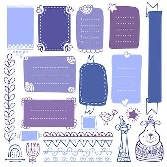 Molduras desenhadas à mão e elementos para diário, caderno, diário ou planejador