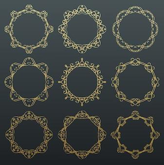 Molduras douradas de caligrafia redonda.