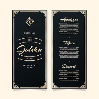 Molduras douradas de modelo de menu de restaurante