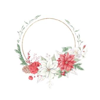 Molduras douradas de natal em aquarela com flores, rosas e poinsétia
