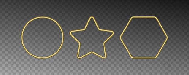 Molduras douradas de vetor com efeitos de luzes.