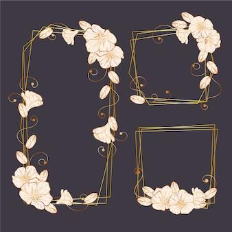 Molduras douradas poligonais com flores elegantes