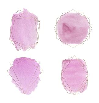Molduras douradas poligonais com pincel rosa derrame textura aquarela.