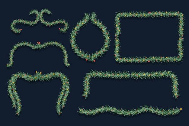 Molduras e bordas de natal de design plano