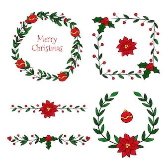 Molduras e bordas de natal desenhadas à mão