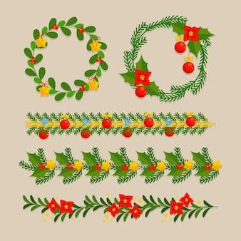 Molduras e bordas de natal em design plano