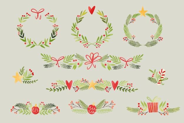 Molduras e bordas em aquarela de natal