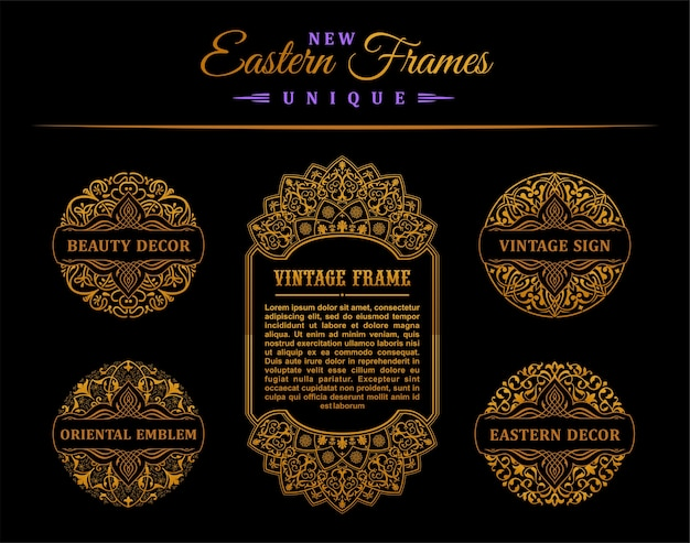 Molduras e cartões de ouro vintage e design de selos
