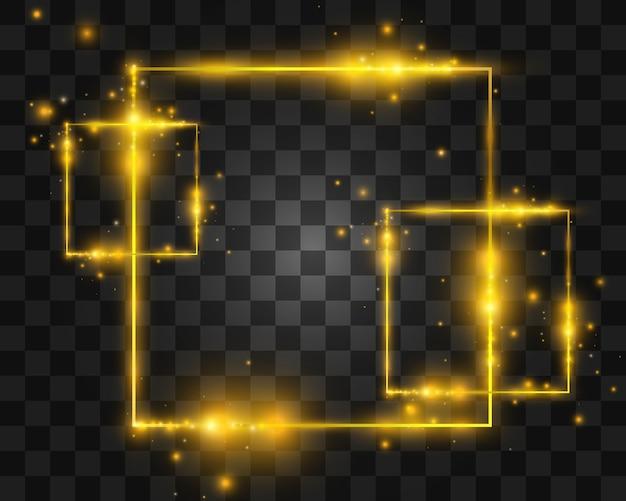Molduras e elementos de luz dourada. quadros lindos. banners de luz.