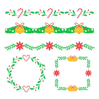 Molduras e grinaldas de natal tradicional