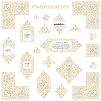 Molduras e linhas douradas árabes, elementos de design e molduras