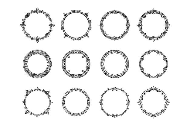 Molduras e molduras de círculo antigo vintage de mão desenhada