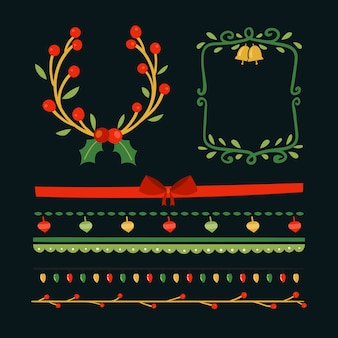 Molduras e molduras de natal desenhadas à mão
