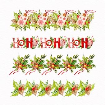 Molduras e molduras de natal em aquarela
