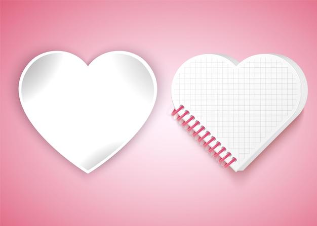 Molduras em forma de coração, caderno.