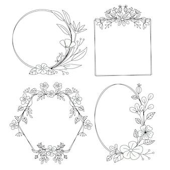 Molduras florais desenhadas à mão