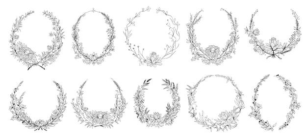 Molduras florais redondas desenhadas à mão.