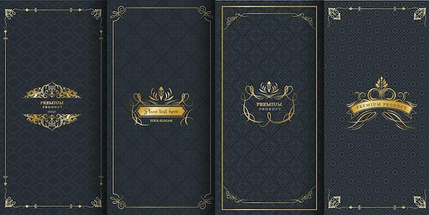 Molduras ornamentadas e logotipos de luxo para embalagem