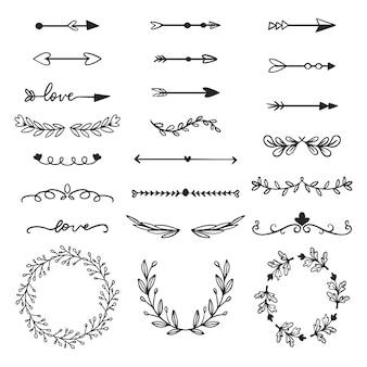 Molduras ornamentais e flechas desenhadas à mão coleção