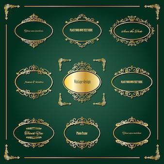 Molduras ovais douradas vintage e conjunto de fronteiras