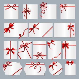 Molduras para cartões de presente. fitas vermelhas presente banners com lugar para coleção de texto