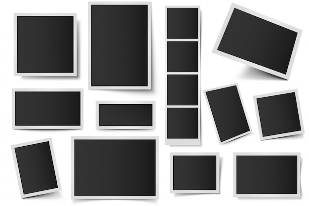 Molduras para cartões fotográficos. fotos instantâneas retangulares, moldura quadrada e foto tirada com conjunto de sombras realista. pacote de quadros 3d em branco. bordas plásticas isoladas no fundo branco