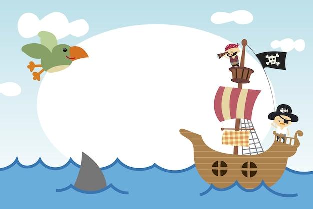 Molduras para crianças com cena pirata