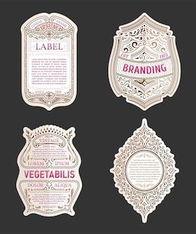 Molduras para etiquetas vendidas, adesivos e design de logotipos