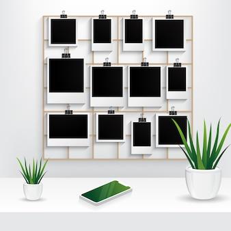 Molduras para fotos com painel de grade de parede, planta interior e cena do telefone móvel isolado no fundo branco