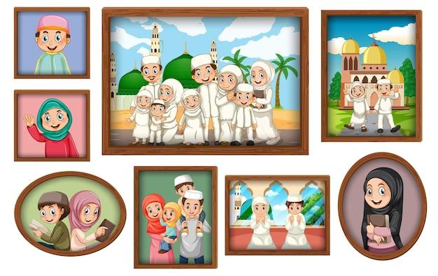 Molduras para fotos de família penduradas na parede