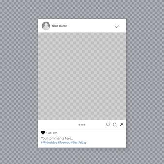 Molduras para fotos de instagram de mídia social