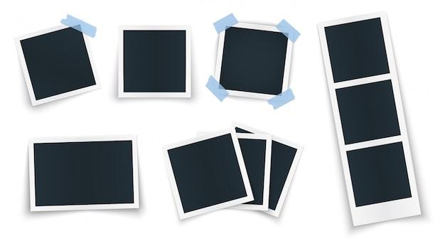 Molduras para fotos definir formas diferentes e sombra com fita adesiva.