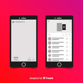 Molduras para fotos instagram realista na coleção iphone
