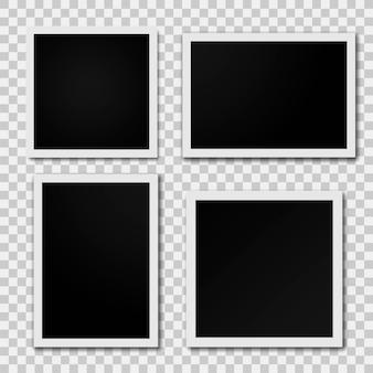 Molduras para fotos isolada em fundo transparente. moldura de foto retro realista colocada. ilustração vetorial.