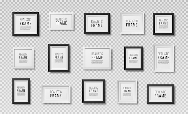 Molduras para fotos isoladas em branco conjunto de vetores de molduras quadradas pretas realistas