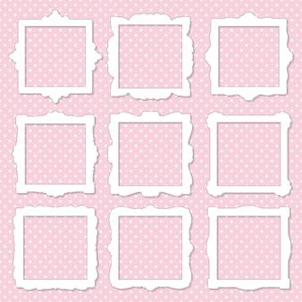 Molduras para fotos quadradas bonito conjunto em polka dot.