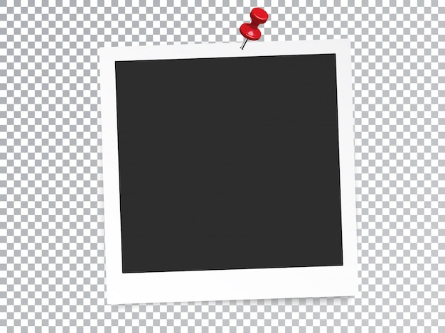 Molduras para fotos realistas com pino isolado efeito especial transparente