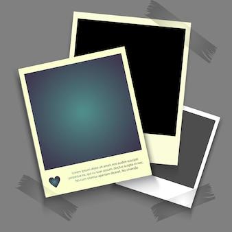 Molduras para fotos realistas com sombra, instantâneo de fotografia vazia em branco com fita adesiva.