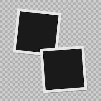 Molduras para fotos realistas de borda polaroid vazia