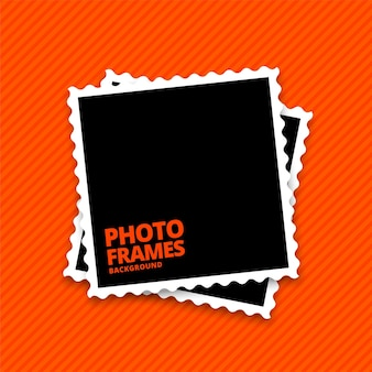 Molduras para fotos realistas em fundo laranja