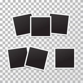 Molduras para fotos realistas retrô colocadas em transparente. modelo de design de foto