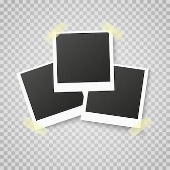 Molduras para fotos realistas retrô colocadas em transparente