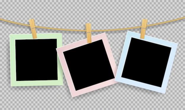 Molduras para fotos realistas retrô com clipe de papel de madeira