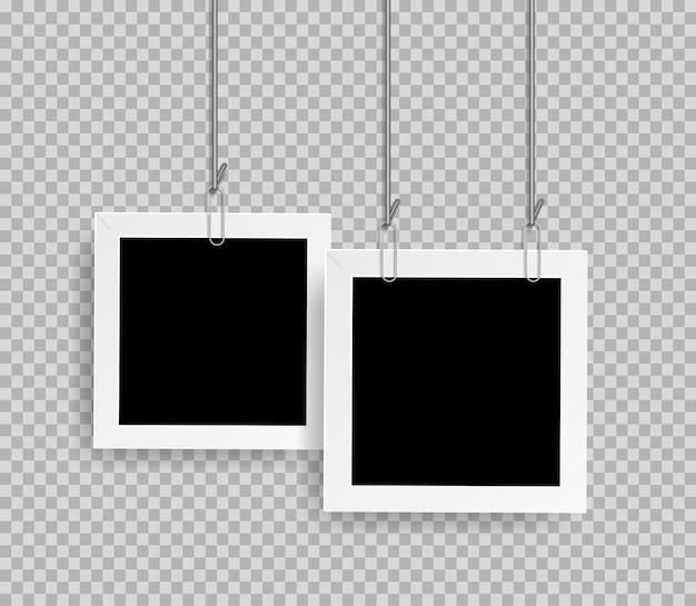 Molduras para fotos realistas retrô com clipe de papel isolado em fundo transparente